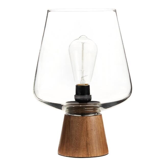 Walnut Wood and Glass Cloche Ryan Table Lamp
