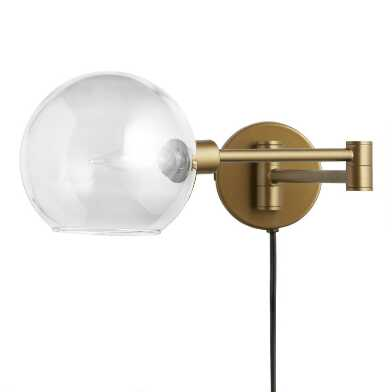 Smoke Gray Glass Dome Adjustable Luna Wall Sconce