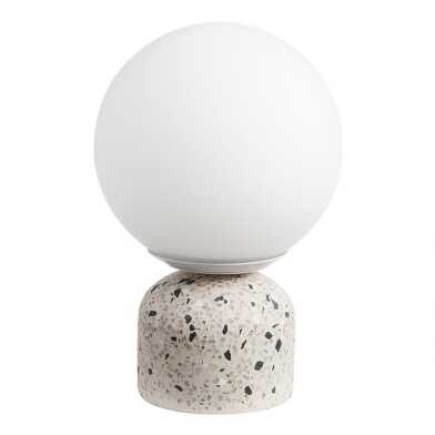 Terrazzo and Frosted Glass Globe Table Lamp