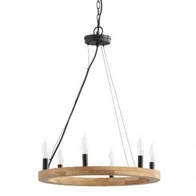 Natural Wood and Black Ring 6 Light Abby Chandelier
