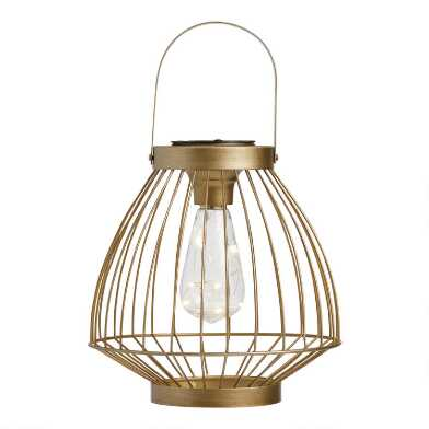 Champagne Gold Wire Cage Solar LED Lantern