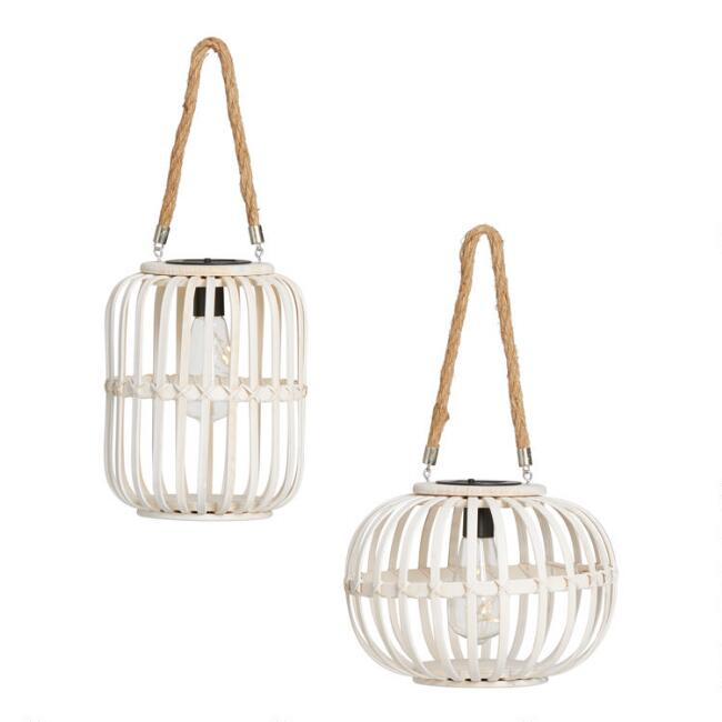 Round and Tall White Wicker Solar LED Lanterns Set of 2