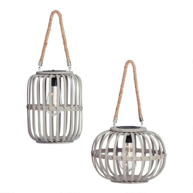 Round and Tall Gray Wicker Solar LED Lanterns Set of 2