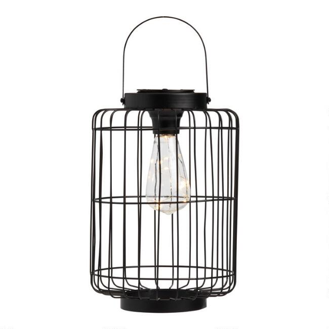 Distressed Black Metal Cage Firefly Solar LED Lantern