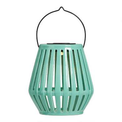 Slatted Ceramic Solar LED Lantern