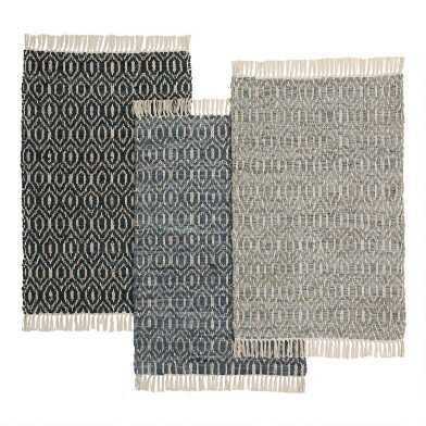 Diamond Woven Jute and Leather Area Rug
