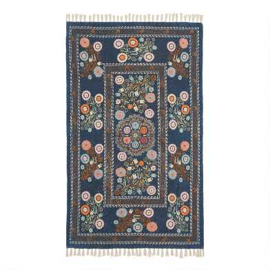 Navy and Coral Floral Embroidered Cotton Jaipur Area Rug