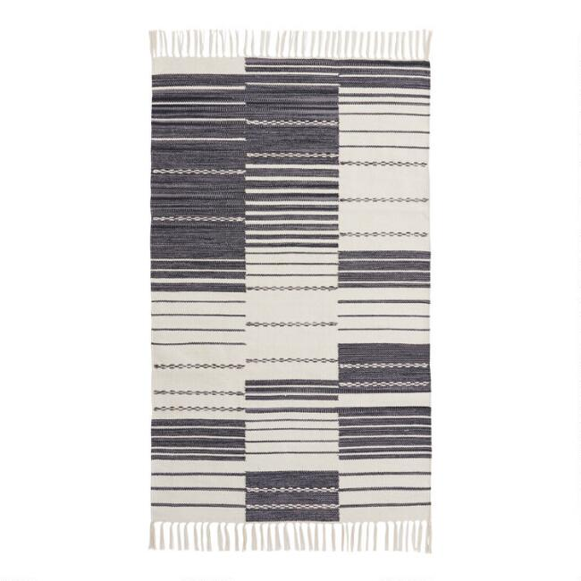 Black and Ivory Uneven Stripe Cotton Dhurrie Area Rug