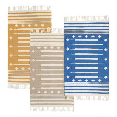 Diamond Stripe Cotton Dhurrie Area Rug