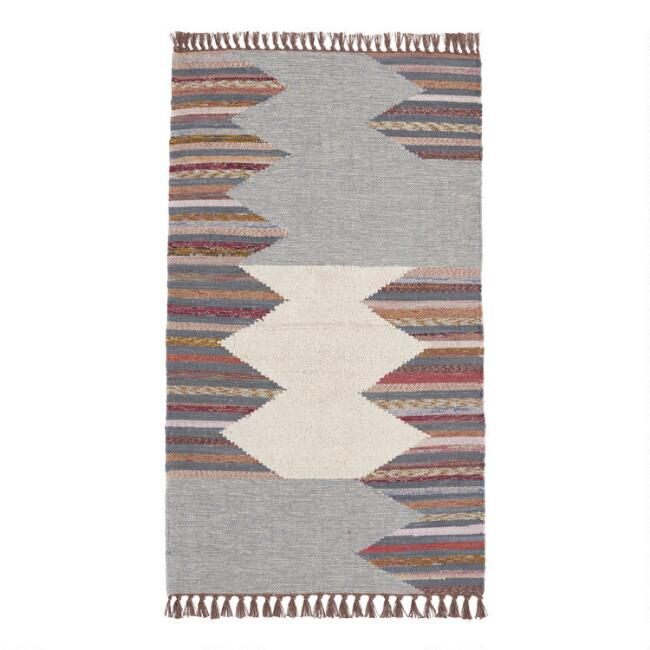 Gray and Ivory Abstract Diamond Chindi Area Rug