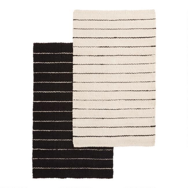 Black and Ivory Stripe Woven Jute Reversible Area Rug