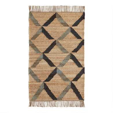Black and Gray Diamond Jute Reversible Area Rug
