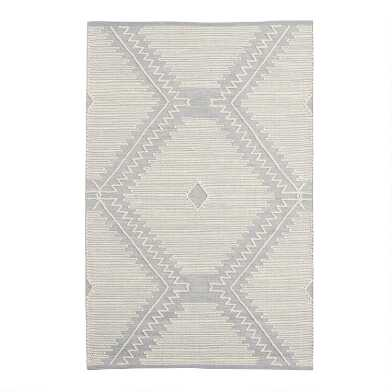 Gray and Ivory Diamond Cotton and Wool Area Rug