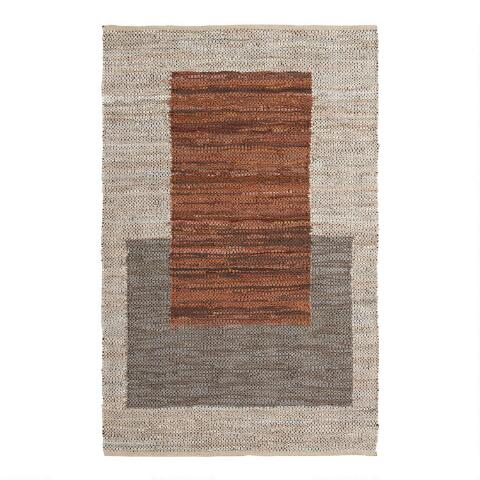 Gray And Chestnut Brown Squares Leather