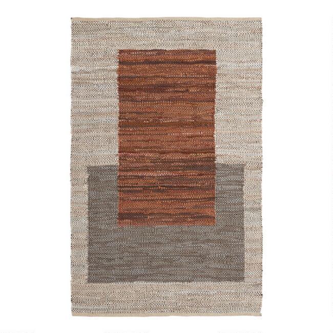 Gray and Chestnut Brown Squares Leather and Cotton Area Rug