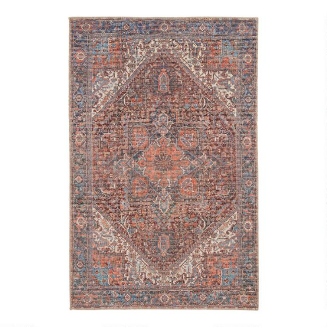 Blue and Red Distressed Persian Style Susa Area Rug