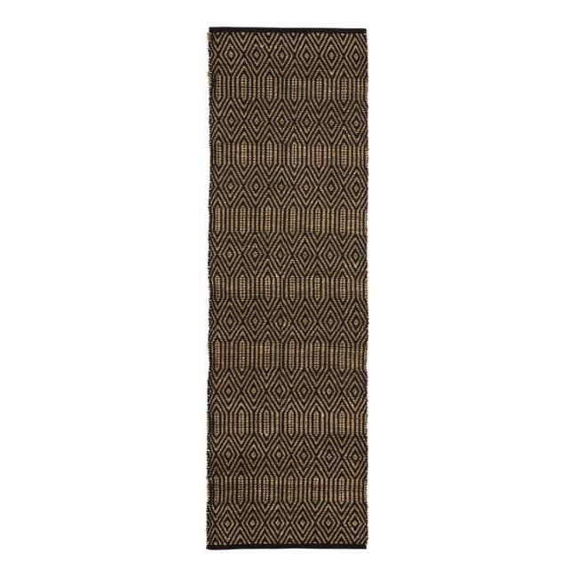 Natural Seagrass and Black Cotton Geometric Floor Runner