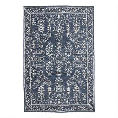 Blue And Ivory Persian Style Tufted Wool Mila Area Rug