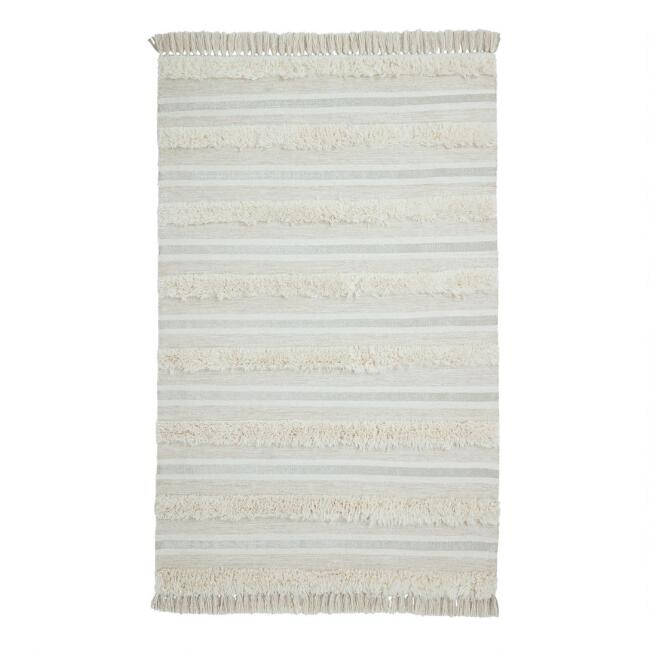Ivory and Tan Raised Stripe Wool Area Rug