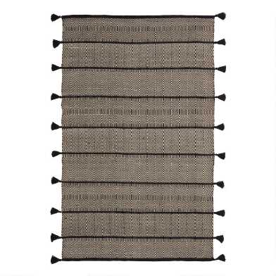 Ivory and Black Geometric Reversible Ash Indoor Outdoor Rug