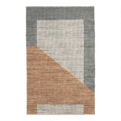 Gray and Tan Leather Geometric Bleecker Area Rug