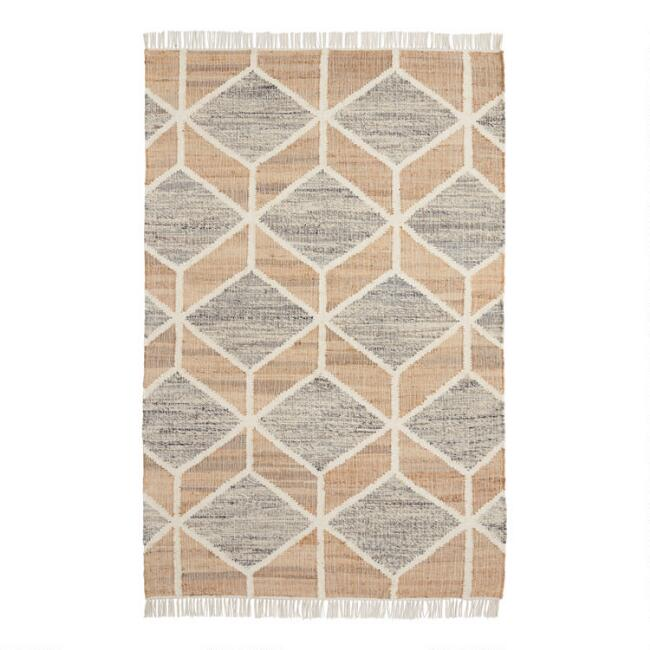 Gray and Jute Diamond Kilim Reversible Mercer Area Rug