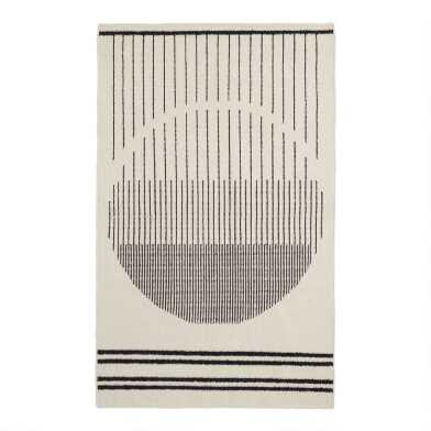 Ivory and Black Geometric Stripe Wool Kilim Tribeca Area Rug