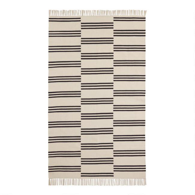Ivory and Black Uneven Stripe Cotton Dhurrie Monroe Area Rug