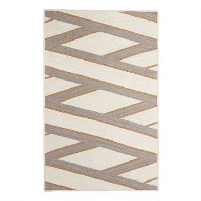 Ivory and Gray Jute Diamond Zigzag Reversible Lenox Area Rug