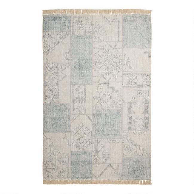 Gray and Ivory Patchwork Cotton Addison Area Rug