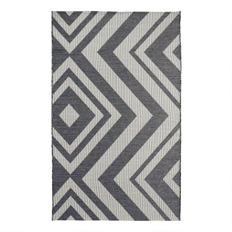 Charcoal And Ivory Geometric Malawi Indoor Outdoor Rug World Market