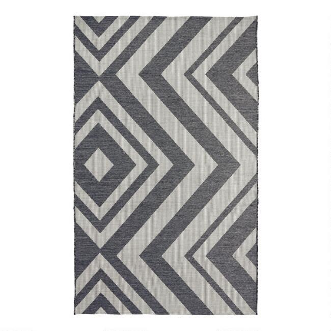 Charcoal and Ivory Geometric Malawi Indoor Outdoor Rug