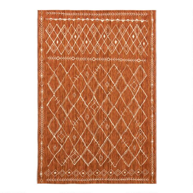 Rust Moroccan Style Indoor Outdoor Rug
