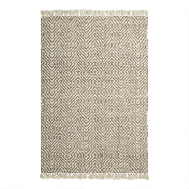 Natural and Ivory Geometric Jute Reversible Asher Area Rug