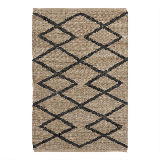 Black Leather and Jute Moroccan Style Medina Area Rug