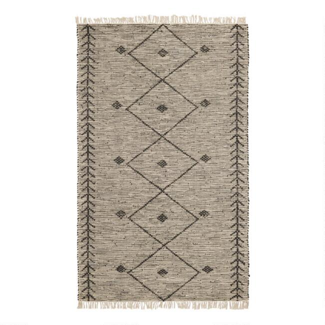 Black Leather and Ivory Cotton Moroccan Style Ashik Area Rug