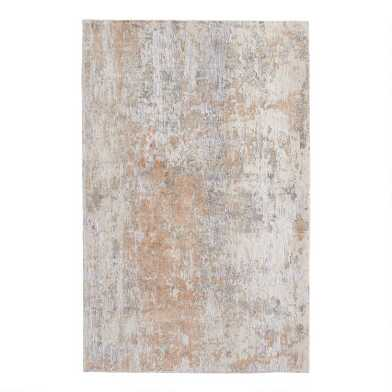 Silver and Peach Abstract Madison Area Rug