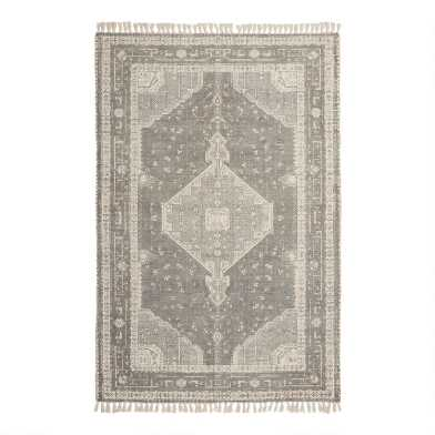 Gray and Ivory Persian Style Cotton Lexington Area Rug