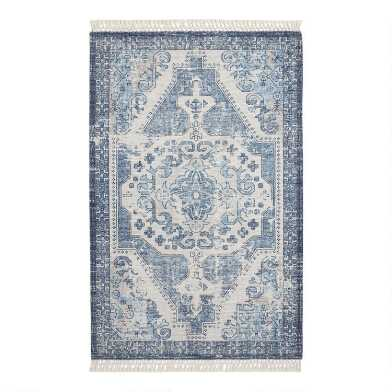 Indigo Blue Distressed Persian Style Indoor Outdoor Rug