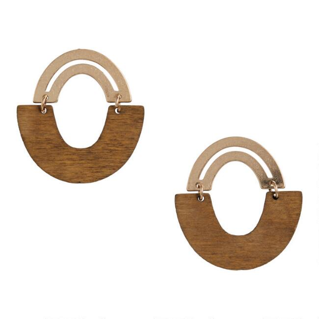 Brushed Gold And Wood Modern Oval Drop Earrings