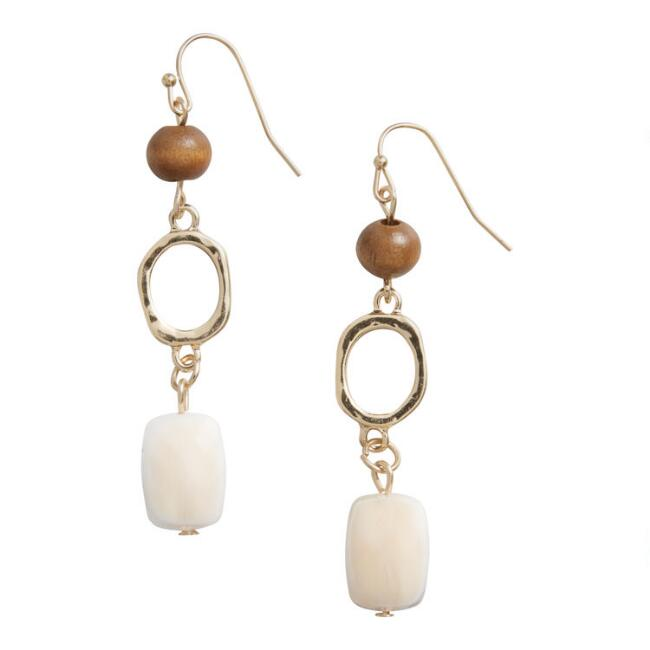 Wood, Gold and Peach Three Tier Dangle Earrings