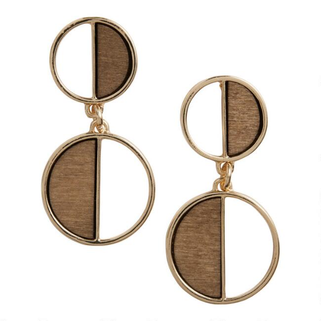 Gold And Wood Semicircle Drop Earrings