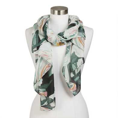 Muted Green, Black And Pink Watercolor Floral Scarf