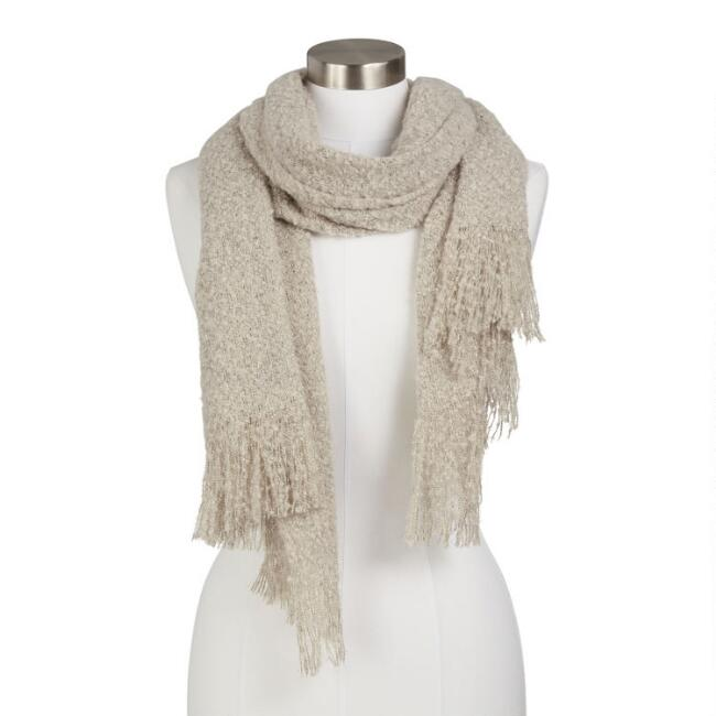 Light Gray And Gold Nubby Blanket Scarf