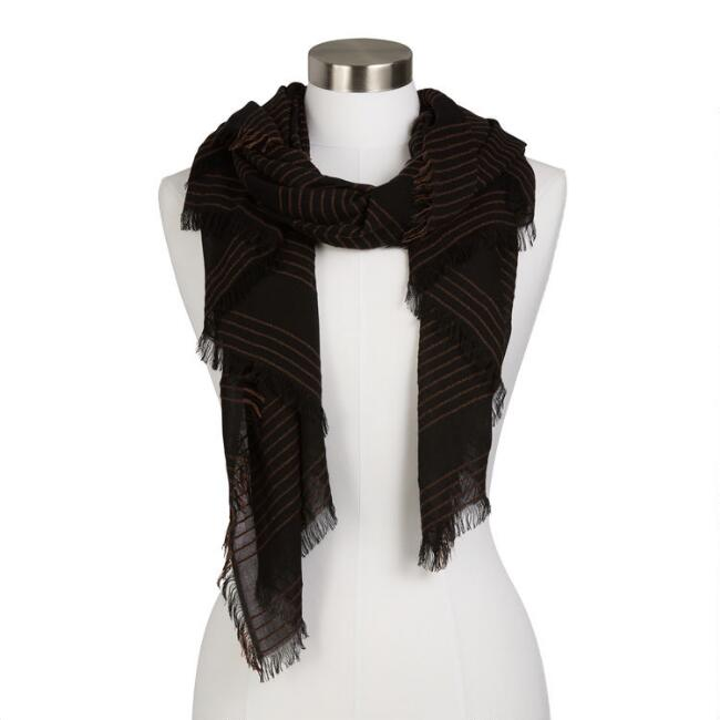 Black And Tan Striped Woven Textured Scarf