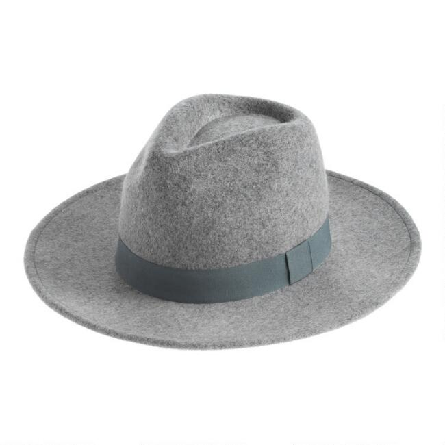 Gray Wool Western Rancher Hat With Teal Trim