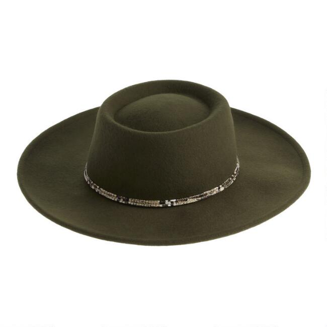 Olive Wool Flat Top Hat With Faux Snakeskin Trim