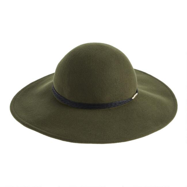 Olive Wool Floppy Hat With Black And Gold Trim
