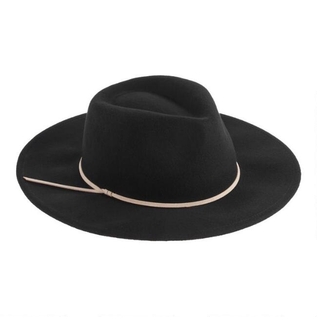 Black Wool Rancher Hat With Tan Trim