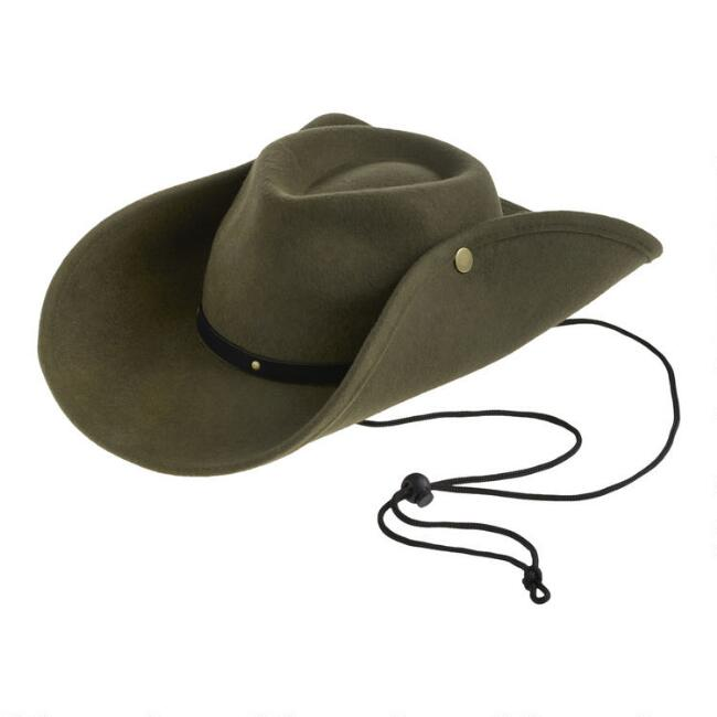 Olive Wool Convertible Rancher Hat With Black Trim